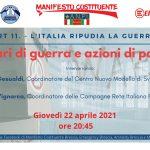 Affari di guerra e azioni di pace – evento il 22 aprile 2021