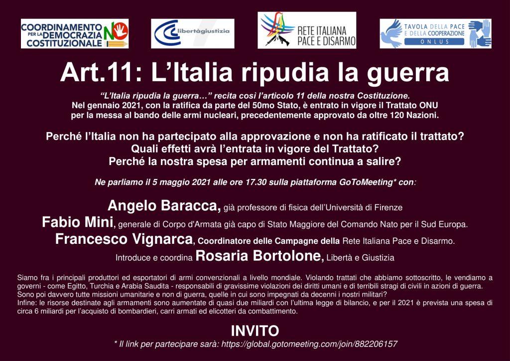 Art.11: L'Italia ripudia la guerra – evento 5 maggio 2021