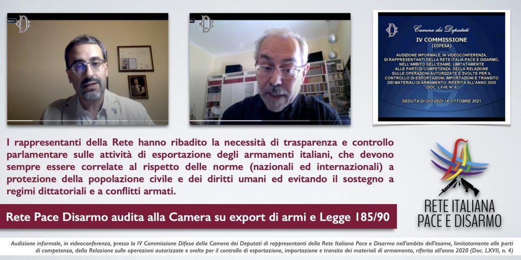 Rete Pace Disarmo audita alla Camera su export di armi e Legge 185/90